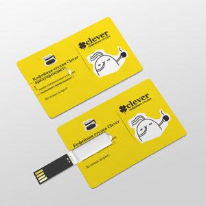 флешка карточка с нанесением логотипа / флешка визитка / clever