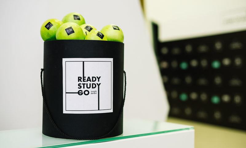 Черная корзина с зелеными яблоками